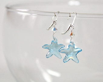 40th Birthday Gifts For Women,Special Gift,For Daughter,For Mom,Swarovski,Starfish Earrings,50th Birthday Gift,For Woman,March Birthstone