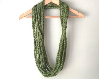 Green Scarf Necklace . Long . Chain Scarf . Green Grass Scarf . Chain Infinity Scarf . Circle Scarf . Crochet Chain Scarf . Crochet Scarf