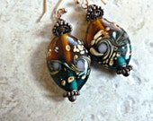 Floral Lamp Work Earrings in Amber & Teal with Copper