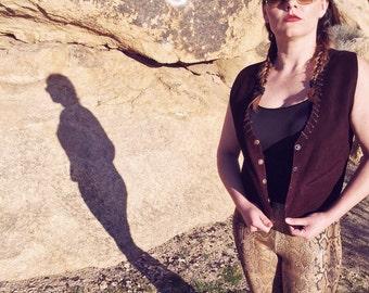 Women's 100% leather suede vintage western hippie bohemian vest