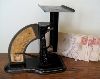 Ideal Postal Scale - Vintage Rare Ideal Postal Scale with Great Graphics - Metal Office Decor Antique Postage Scale