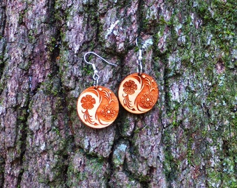 Flower Yin Yang Earrings, Engraved On Both Sides.