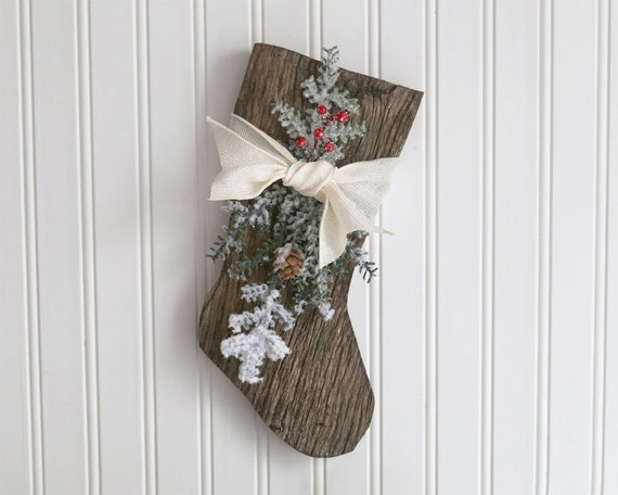 Items similar to Rustic Wood Christmas Stocking, Wooden ...