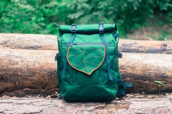 Dark Green Large Waterproof Rolltop Backpack Leaf by ...