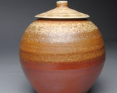 Clay Covered Jar Wood Fired Ginger Jar D9