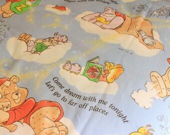 Vintage Sheet, Teddy Ruxpin, Vintage Bedding, 1980's, Twin Flat Sheet, Bed Sheet,