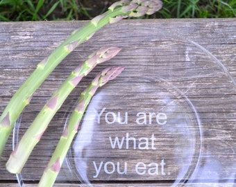 Glass Plate, Dinner Plate, Motivational Glass Etched Plate, Glass Dish, You are what you Eat Plate, 10 Inch Dinner Plate, Table Setting