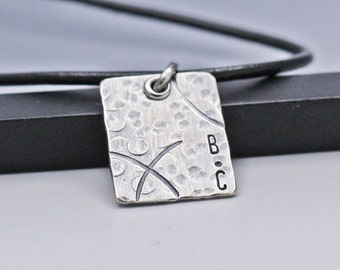 Personalized Men's Necklace Hand Stamped Rustic Square Necklace Men's Custom Initial Necklace Gift for Dad New Baby Gift