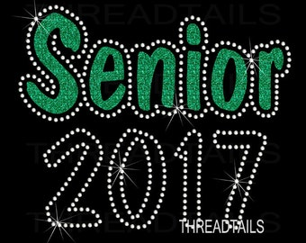 Glitter and rhinestone Senior 2017 shirt.  Class of 2017 t-shirt, graduation gift, Gift for Senior class.  Bling sparkle tee, top.