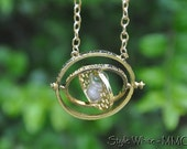 18 K Gold Plated Time Turner Rotating Spins Hourglass Necklace Horcrux Hermione Necklace