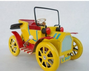 ON SALE Vintage Tin Litho Toy Car Made in Czech Republik, Nostalgie, Old Timer, Yellow, Red, Lever Action 1900'S Style Jalopy Car in Box