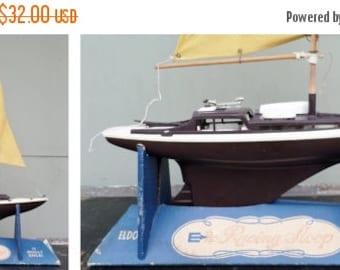 "ON SALE 1964, Vintage, Eldon, 17"", Racing Sloop, Sail Boat, Sailing, Nautical, Toy, Sail, Mast, Plastic, Fabric, Wood, Made in Hawthorne Cal"