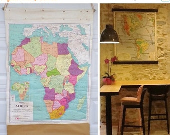 ON SALE Industrial, 1964, Map, Africa, Smaller School-Room Map, School, Roll Up, Canva, George Philip and Son Ltd, Wall Hanging, Vintage, Pu