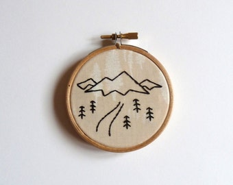 Mini mountain landscape sketch embroidery hoop art 3 inch wall decoration // modern embroidery // mountain embroidery // mountain lover