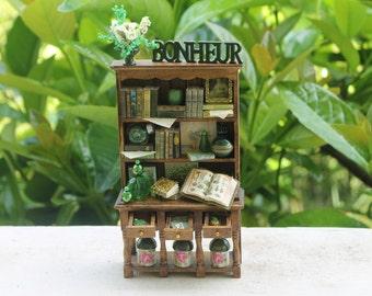 "Dollhouse miniature green bookcase ""Bonheur""  OOAK"