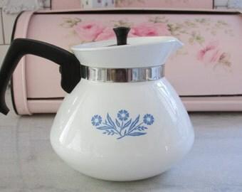 Vintage Blue Cornflower Tea Pot, 6 cup