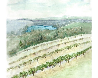 landscape artwork print from original watercolor painting, nature art, vineyard watercolor, holiday gift for him, gift for her, office decor