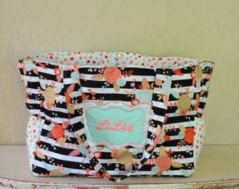 Handmade personalized mega mom floral bag with polka dot accents