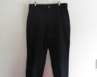 80% OFF FALL SALE Mens Vintage Haggar Black Corduroy Minimal Pleated Dress Bootcut Pants Slacks Trousers Sz W38 x L34