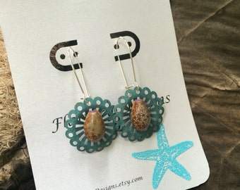 Flirty Honey Cowrie Shell Earrings
