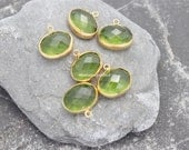 cz crystal charm bezel peridot green bezel gold plated faceted oval 16mm pendants gold plated turkish findings supplies