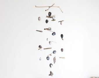 Driftwood Mobile with Felt Pebbles/Rocks/Stones -- Rustic Natural Hanging Home Decoration -- Beige, Ice White, Grey -- Ready to ship