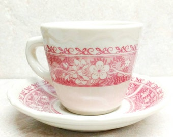 Syracuse China Cup and Saucer Strawberry Hill Restaurant Ware Pink and Ivory Vitrified Set of 4