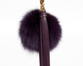 Pompom Keychain fur ball bag charms with long leather tassel clasp, handbag charm, tassel key chian - Purple