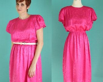 Vintage 80s Party Dress - Hot Pink Dress - Silky Flutter Sleeve Dress - Square Print Elastic Waist Midi Dress - Modest Dress - Size Medium