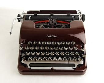 Maroon Red Typewriter, Corona Silent 'Floating Shift'
