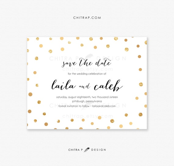 Items similar to black white gold save the date cards for Etsy engagement party invites