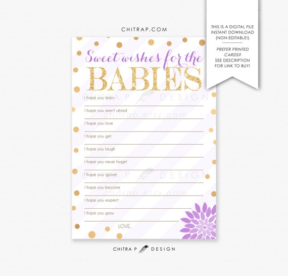 twins baby shower game printed printable purple girl wishes for