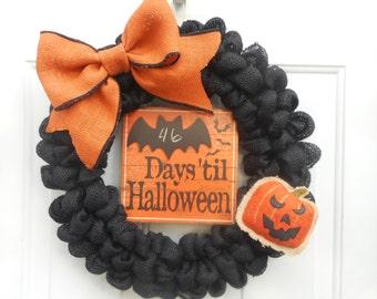 Halloween wreath Black Halloween wreath Burlap Halloween wreath Halloween burlap wreath Black burlap wreath Chalkboard wreath ready to ship