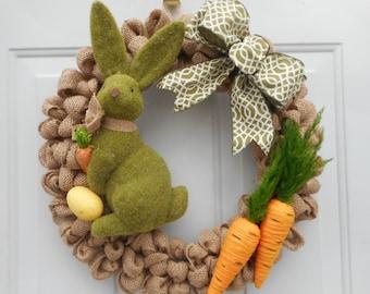 Spring wreath, Easter wreath, Spring bunny wreath, Carrot wreath, Spring burlap wreath, Easter burlap wreath, Rustic wreath, Spring decorRTS