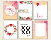 Journal Cards - Love - Project Life - digital collage sheet - set of 6 cards - Printable Download