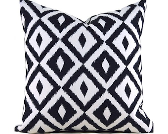 Indoor Outdoor Black Pillow Covers ANY SIZE Decorative Pillows Black Pillows Terrasol Outdoor Aztec Black