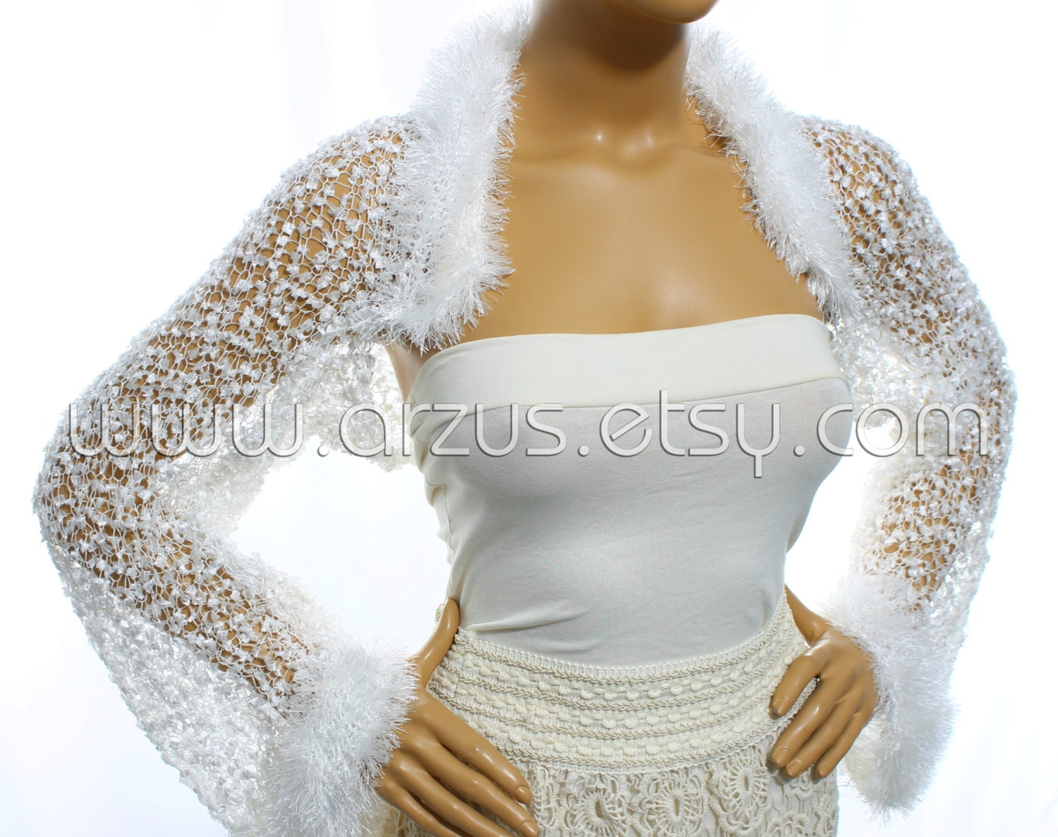 Knitted Wedding Gifts: White Wedding Shrug Bridal Shrug Knit Shrug Bridesmaid Gift