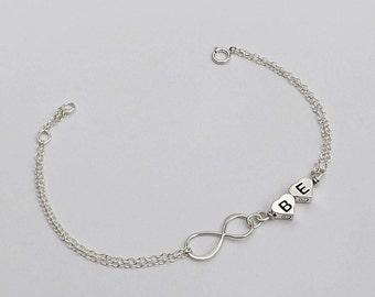 Best friend bracelet. Sterling silver infinity bracelet, monogram bracelet, sister bracelet.