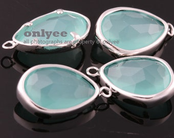 2pcs-17mmX10.5mBright Rhodium Faceted NEW Style Tear Drop With Glass pendants-MINT(M395S-C)