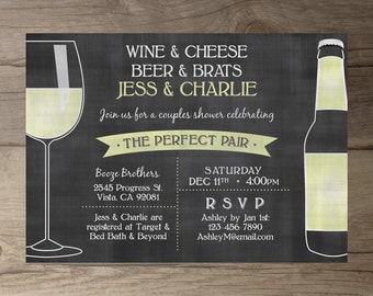 Perfect Pair Invitations • Chalkboard Invites  • Engagement Party • Wine and Cheese • Beer and Brats •  DIY Printable