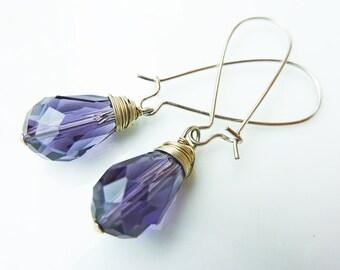 Purple Lilac Crystal Wire Wrapped Drop Earrings