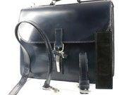 Navy Blue Bridle Leather Black Calf Lining Briefcase