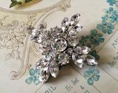 Little cross wedding bridal rhinestone crystals bling sparkling brooch pin