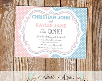 Light Blue and Light Pink Polka Dots TWINS simple birthday party invitation - choose your colors if needed - any age - Twins Birthday Party