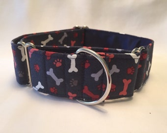 "1.5"" Paws/Bones on Navy Martingale Collar"