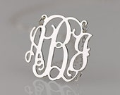 On Sale Monogram necklace - 1 inch Personalized Monogram - 925 Sterling silver