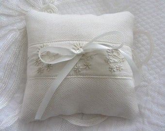 Wedding ring pillow/cushion made from vintage lace