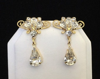 50% SALE Clear Crystal Earrings..Wedding Earrings..Bridal Earrings..Unique Earrings Vintage Rhinestone Jewelry Old Hollywood Glamour 80s NOS