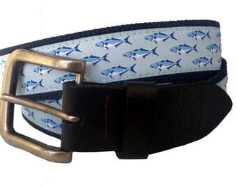 Bluefish Nautical Belt / Leather Belt / Canvas Belt / Preppy Webbing Belt for Men, Women and Children/Bluefish Ribbon Belt