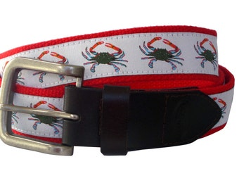 Blue Crab Nautical Belt / Leather Belt / Canvas Belt / Preppy Webbing Belt for Men, Women and Children/Blue Crab on White Ribbon